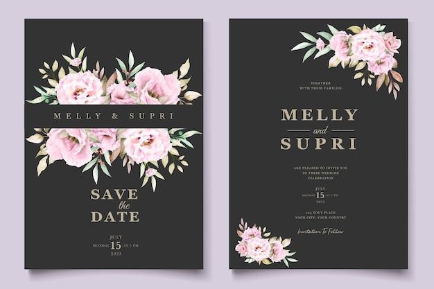 Cartão floral aquarela rosa