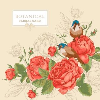 Cartão floral botânico com rosas e pássaros