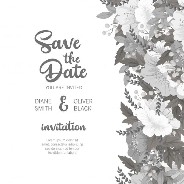 Cartão floral branco e preto do modelo floral do casamento
