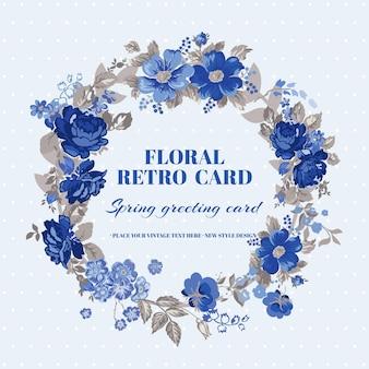 Cartão floral chique gasto com design vintage em vetor