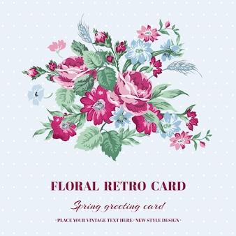 Cartão floral chique gasto