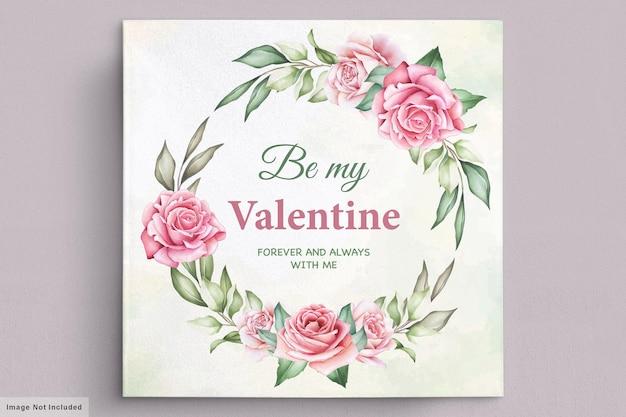 Cartão floral com coroa de flores para o dia dos namorados