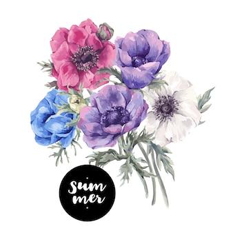 Cartão floral com flores de jardim anêmonas