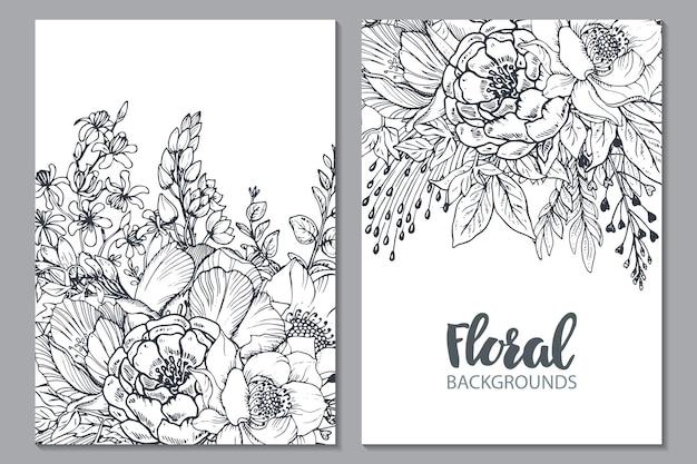 Cartão floral com flores e plantas desenhadas à mão. ilustração monocromática no estilo de desenho.