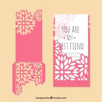 Cartão floral com frase bonita
