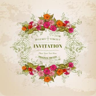 Cartão floral com moldura vintage