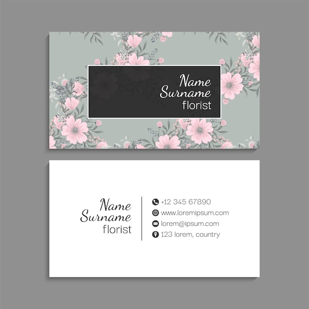 Cartão floral com moldura
