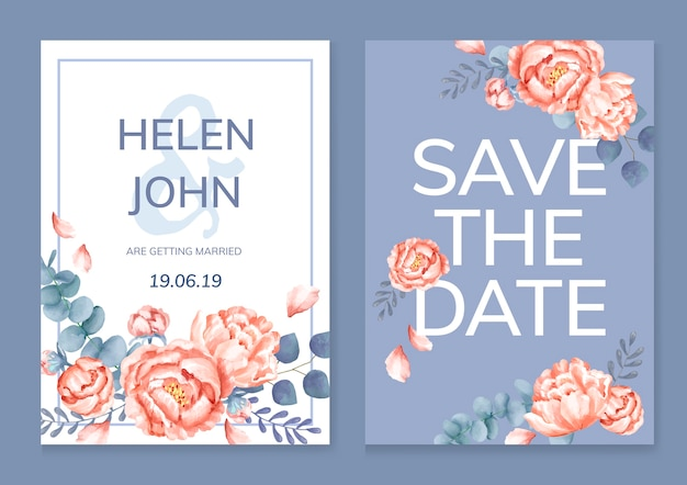 Cartão floral com um esquema roxo