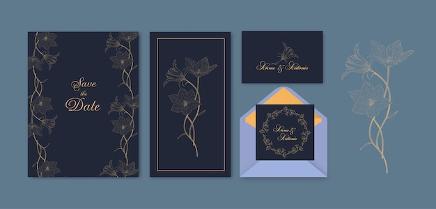Cartão floral conjunto com flores bluebell roundleaf