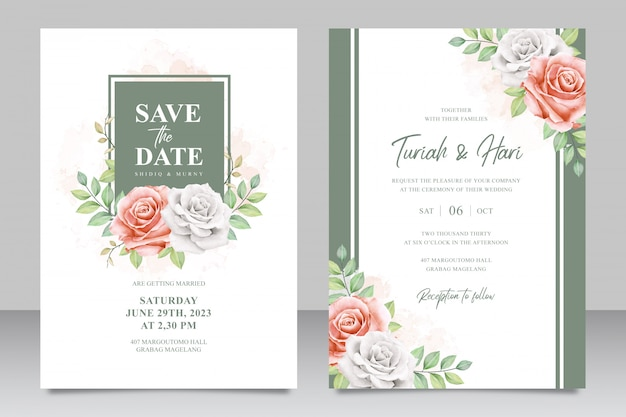 Cartão floral convite multiusos modelo de conjunto de cartão de convite de casamento