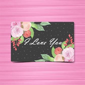 Cartão floral da aguarela eu te amo