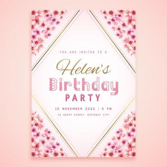 Cartão floral da festa de aniversário de helen
