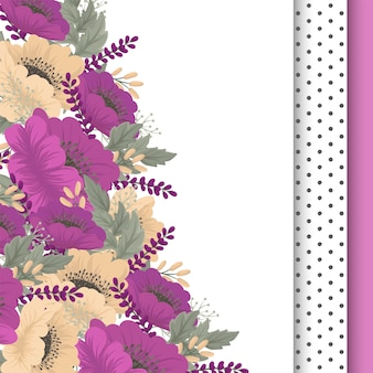 Cartão floral da flor do rosa quente do vintage