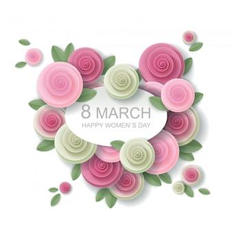 Cartão floral de 8 de março em estilo de arte de papel