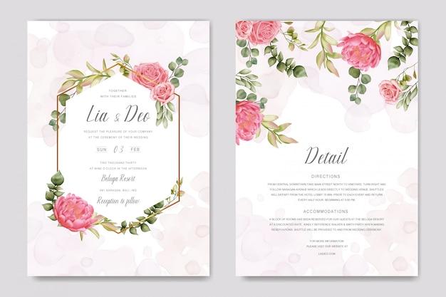 Cartão floral de convite de casamento elegante com moldura dourada