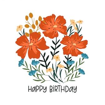Cartão floral de feliz aniversário. modelo de saudações
