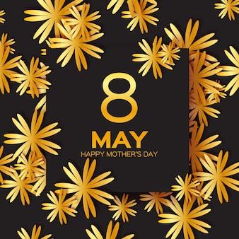 Cartão floral de folha dourada - feliz dia das mães