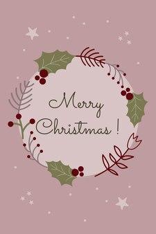 Cartão floral de natal e ano novo em estilo escandinavo grinalda botânica festiva abstrata