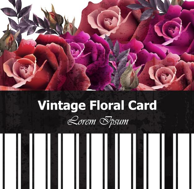 Cartão floral de rosas realistas vintage