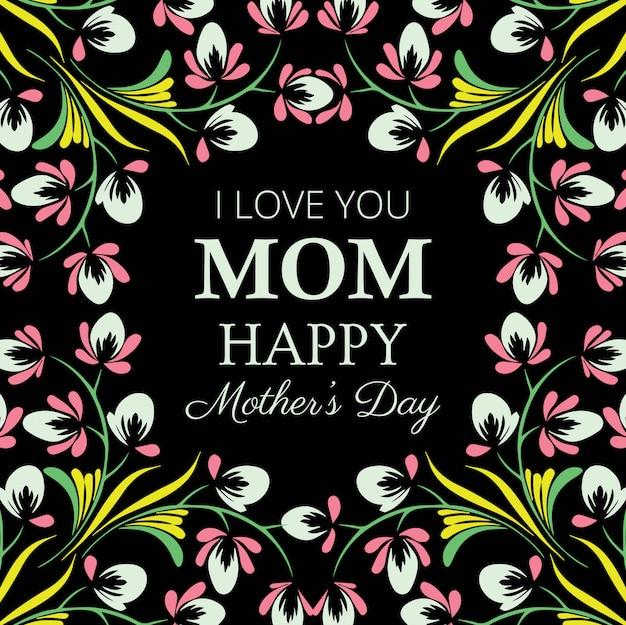 Cartão floral decorativo de feliz dia das mães