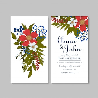 Cartão floral do casamento floral modelo vermelho