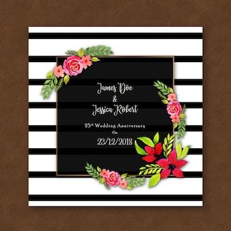 Cartão floral do convite do aniversário da aguarela com listras