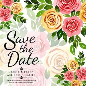 Cartão floral do convite do casamento da aguarela