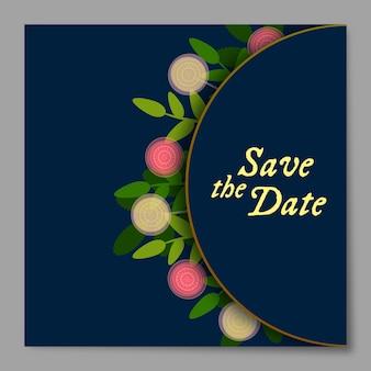 Cartão floral do convite do casamento da beira