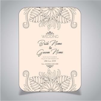 Cartão floral do convite do casamento do estilo da mandala