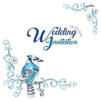 Cartão floral do convite do casamento do pássaro da aguarela