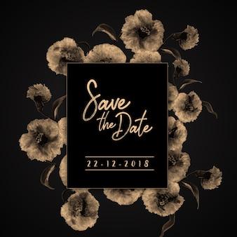 Cartão floral do convite do casamento do vintage da aguarela