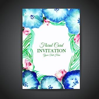 Cartão floral do convite do vintage da aguarela