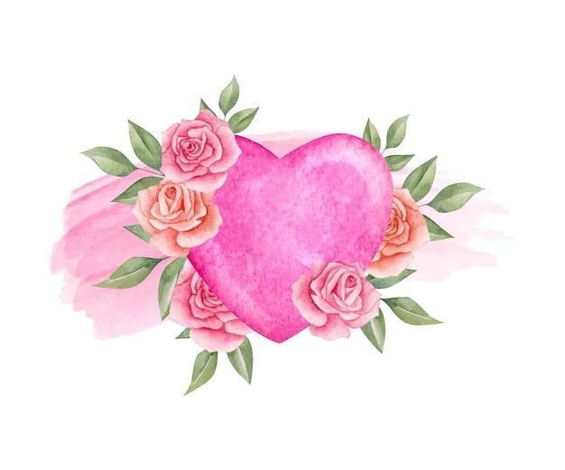 Cartão floral do dia dos namorados em aquarela