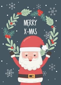 Cartão floral do feliz natal dos flocos de neve florais do papai noel