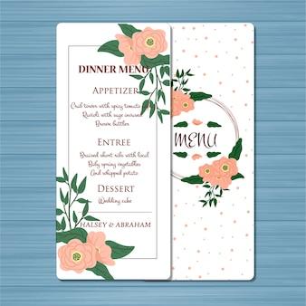 Cartão floral do menu do casamento com flores bonitas