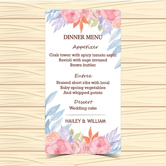 Cartão floral do menu do casamento da aguarela