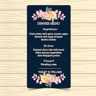 Cartão floral do menu do casamento