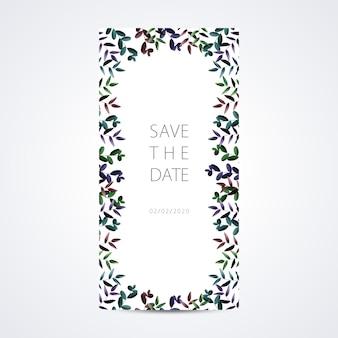 Cartão floral do molde do convite do casamento com frame