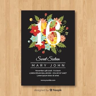 Cartão floral do número de dezesseis aniversários