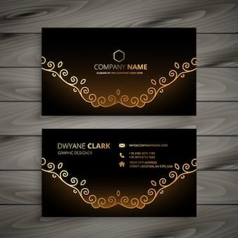 Cartão floral dourado