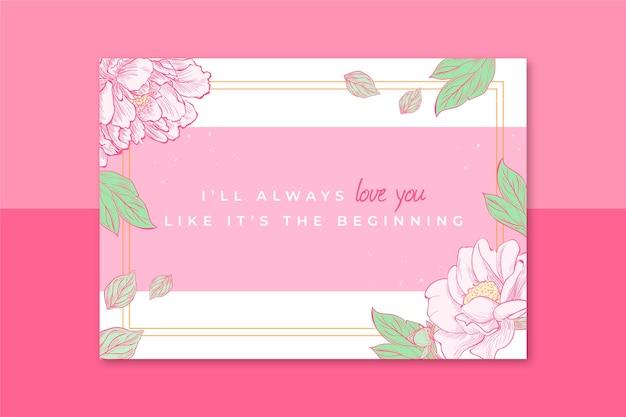 Cartão floral elegante para o dia dos namorados