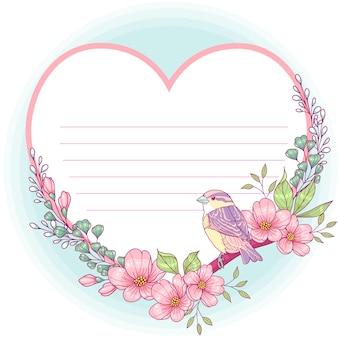 Cartão floral em forma de coração