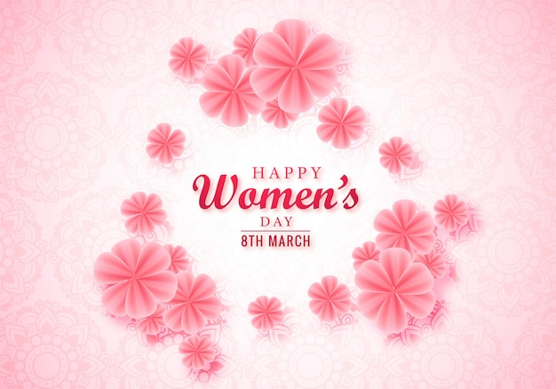 Cartão floral feliz dia das mulheres rosa