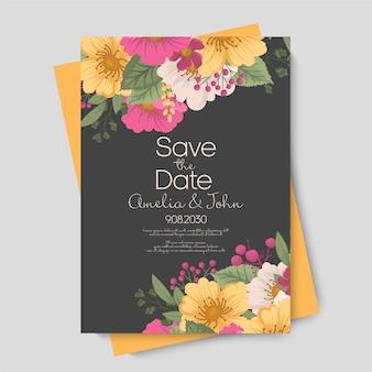 Cartão floral fofo, flores rosa choque