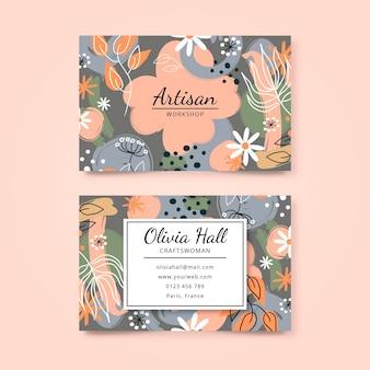 Cartão floral frente e verso