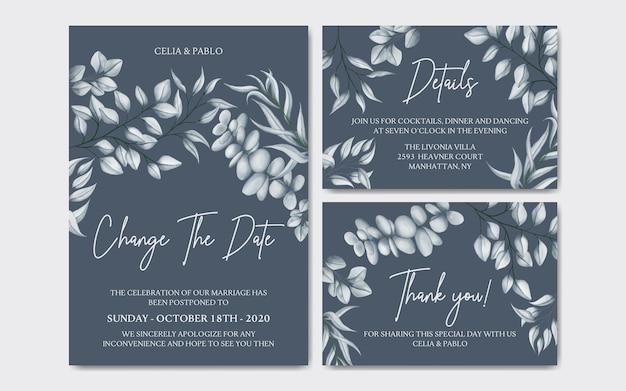 Cartão floral luxuoso de convite de casamento adiado