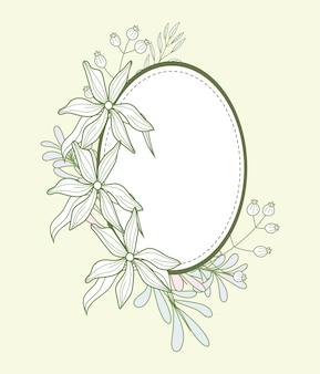 Cartão floral oval