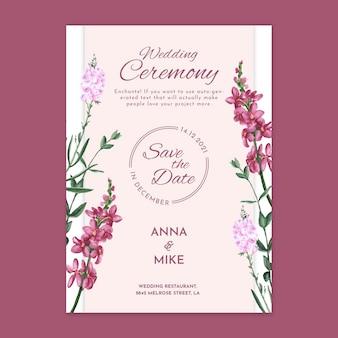 Cartão floral para cerimônia de casamento