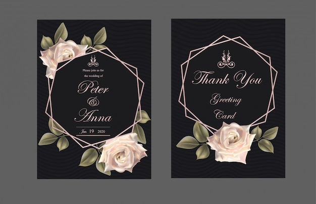 Cartão floral para convite casamento e cartões com rosas