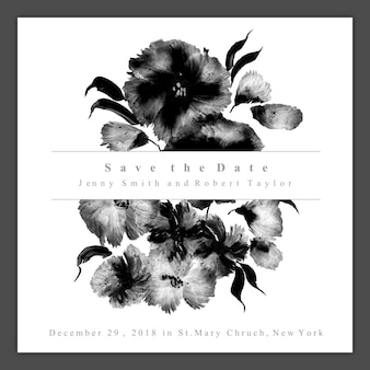 Cartão floral preto e branco do convite do casamento da aguarela